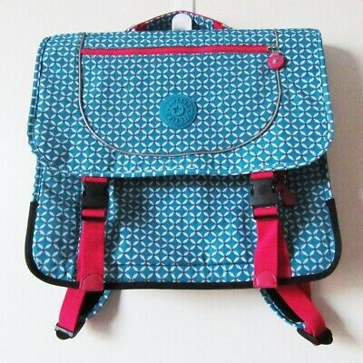 Kipling School Bag Backpack in Blue Tile Print