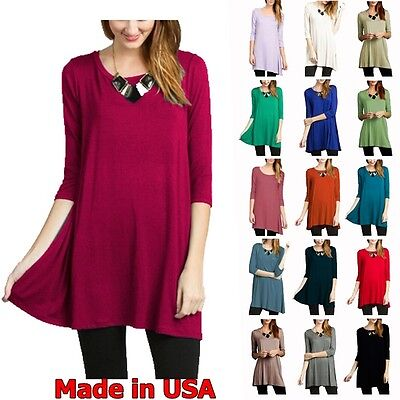 Womens Dressing - USA NEW Womens 3/4 Sleeve Tunic Top Dress Round Neck Blouse S M L Plus 1X 2X 3X