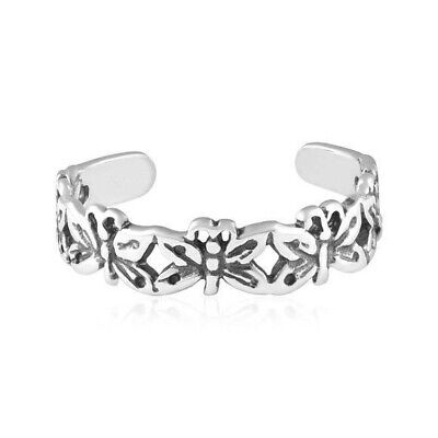 Butterflies Design Toe Ring Genuine Sterling Silver 925 Adjustable Jewelry Gift