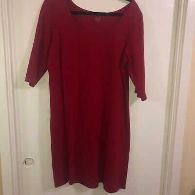 Eileen Fisher red quarter sleeve dress size L Organic Cotton