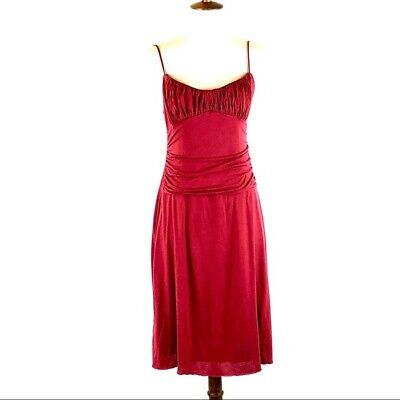 Anthropologie Velvet Womens Cami Dress Sleeveless Red Jersey Gathered Bust Sz M