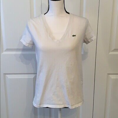 Lacoste Womens Short Sleeve Classic V-Neck T-Shirt