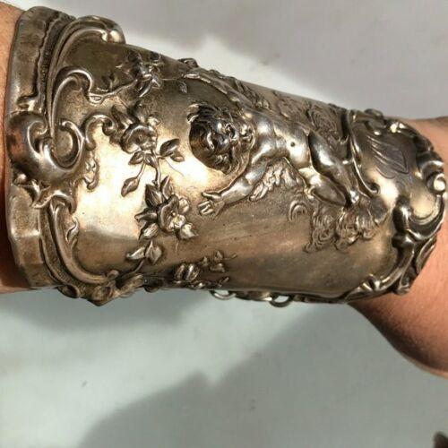 Antique Art Nouveau Cherub Sterling Silver Bracer Cuff Bracelet Gladiator 925