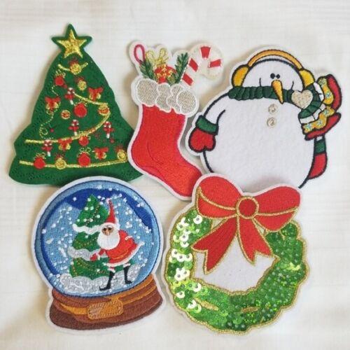 Christmas Felt Embroidered Brooch Set Wreath Snowman Tree Stocking Snow Globe