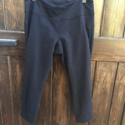 Zella Athletic Sz M Solid Black Cropped Leggings Mesh Cutout