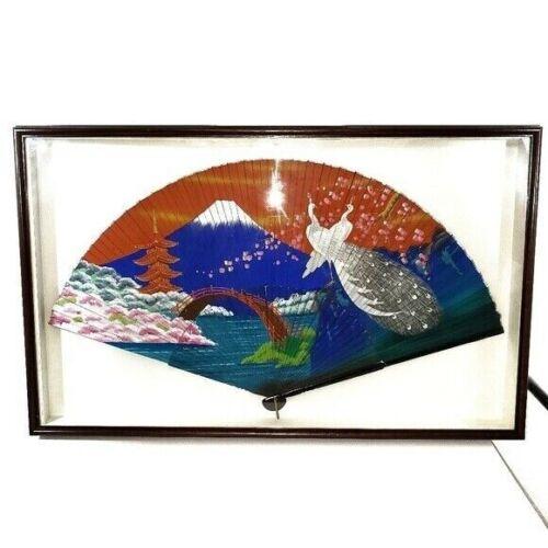 VTG Japanese Large Hand Fan Cherry Wood Shadowbox