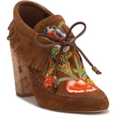 $450 NIB TORY BURCH Huntington booties embroidered Fringe Size 6.5