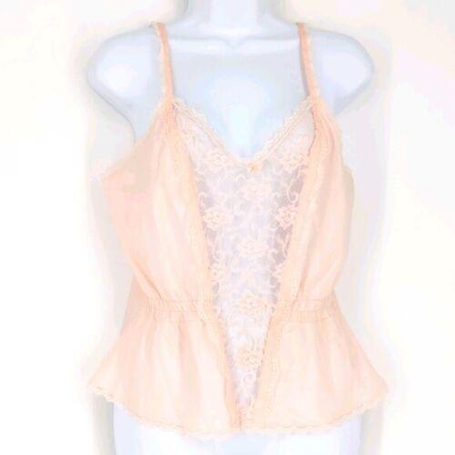 Vintage Maidenform A La Carte Pink Satin Sheer Lace Camisole
