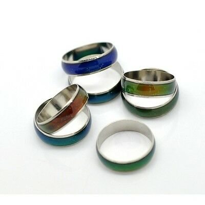 Wholesale Bulk Lot 20 Silver Tone Channel Band Mood Rings in Assorted Sizes