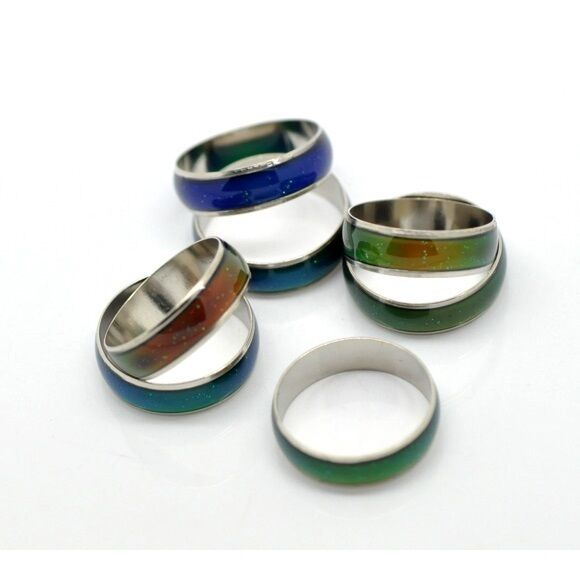 Wholesale Bulk Lot 20 Silver Tone Channel Band Mood Rings Assorted Sizes VTG