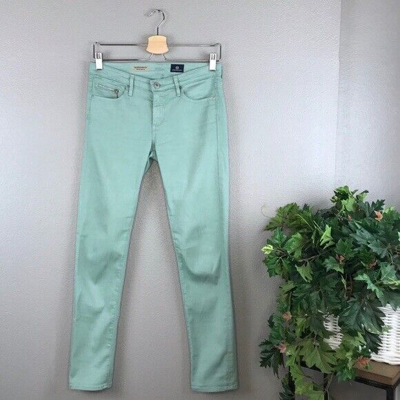 AG Adriano Goldschmied Mint Green Stevie Ankle Zip