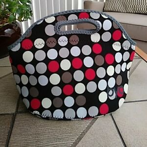BYO Polka Dot Lunch Tote with Single Bottle Tote - New Condition