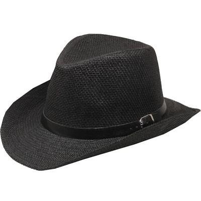 BLACK Straw COWBOY HAT WOMEN MEN Summer WESTERN  Cowgirl Adult size -