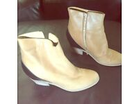 MM6 MAISON MARTIN MARGIELA HIDDEN WEDGE LEATHER BOOTS SIZE 39 1/2