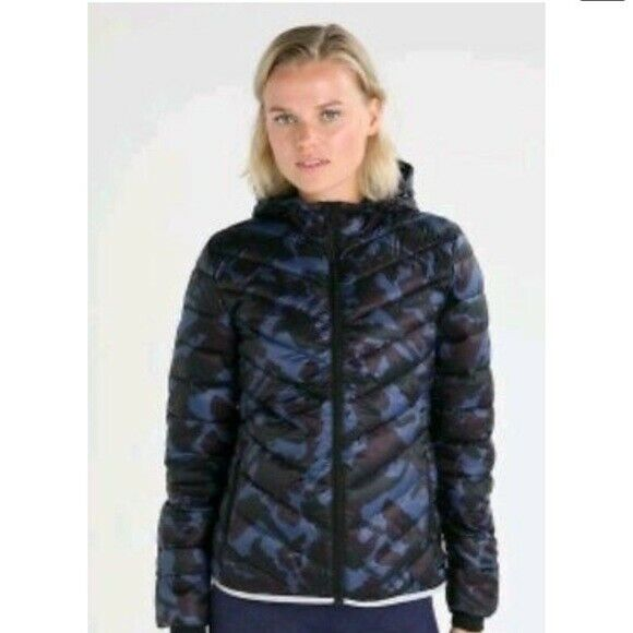 New GapFit Puffer Jacket Maternity Primaloft Aerofast Hoodie Sz XS Blue Camo