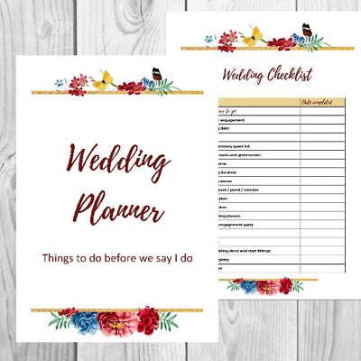 Printable Personalised Wedding Planner - Planning Kit and Checklists - Wedding Planner Printable