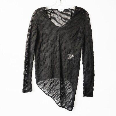 Helmut Lang Black Asymmetrical Sheer Silk Blouse Long Sleeve V Neck Women Size M