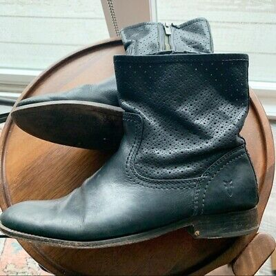 $328 Frye Melissa Perforated Ankle Boot Black Leather size 8