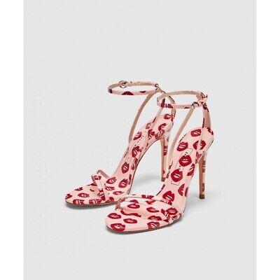 Light Pink Zara's Lip Print Patent High Heel Sandals Size EU 37 US 6.5