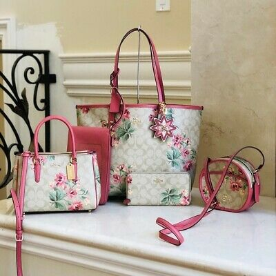 NWT Coach Lilly Floral Reversible Tote+wristlet+wallet+Crossbody (Many Options)  ()