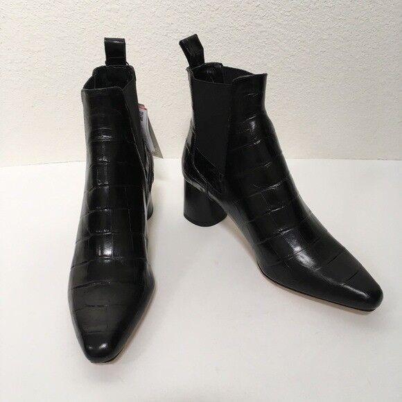 477a270de ZARA Embossed Black Leather Croc Point Heel Chelsea Boots size EURO 39 UK6