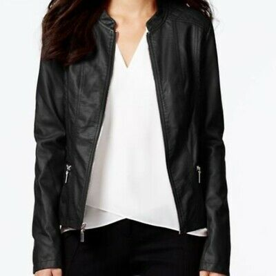 NWT ALFANI Black Faux Leather Pleather Quilted Jacket Zip-Front Long Slv 0X $120 Black Faux Leather Zip