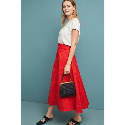 Maeve Women Skirt 12 Red Sandra Belted Midi Full A Line Floral Button Front -