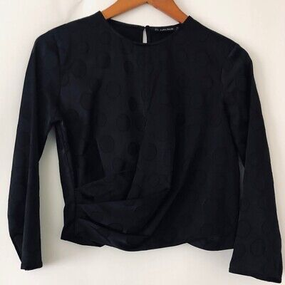 Zara Basic Elegant Top Shirt Blouse Black S Small