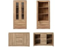 Brand New 2 Piece Montana Wood Effect Sideboard + Display Cabinet With Drawers - Oak