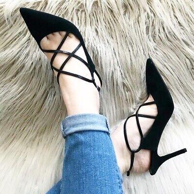 White House Black Market 7.5 Suede Strappy Black Heels pumps career cocktail