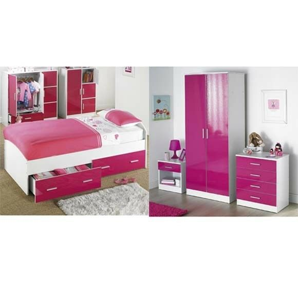 Brand New Carleton SET OF 4 Piece 3FT Single Bed + 3 Piece Bedroom Set    White/Pink