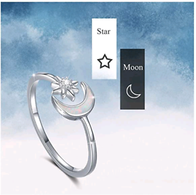 Moon Ring, 925 Sterling Silver Crescent Moon and Star Ring Opal Open R