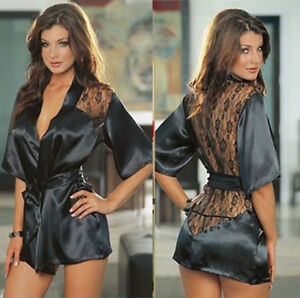 Sexy-Lingerie-Women-Black-Lace-Stain-Intimate-Sleepwear-Babydoll-Dress-Nightwear