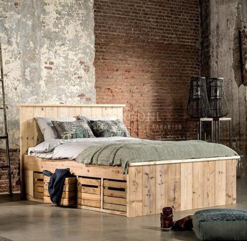 ≥ Steigerhout bed tweepersoons - Slaapkamer   Bedden - Marktplaats.nl