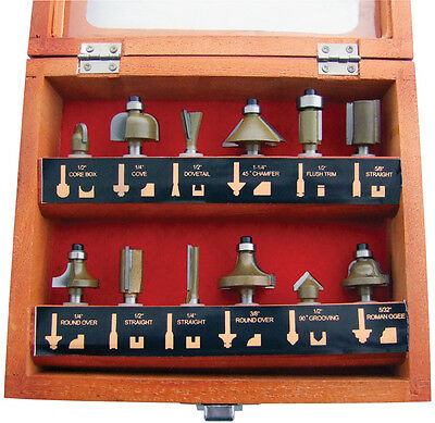 """NEW 12PC 1/4"""" Professional Shank TCT Tipped Router Bit Set With Wooden Case"""