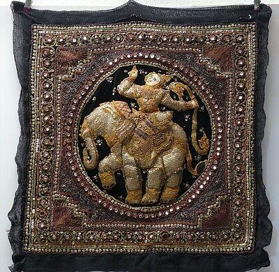 ☛Wandbehang-Wandteppich  Pailletten-Steine Asiatika Elefanten & Gottheit 54x54 ☚