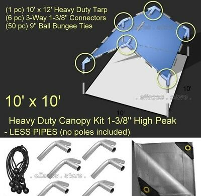 10'x10' Heavy Duty 1-3/8'' High Peak Canopy Kit Silver *PIPE POLES NOT INCLUDED