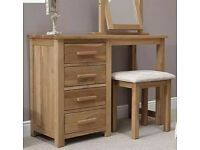 Rohan Oak Dressing Table, Mirror and Stool Set As NEW - From Oak Furniture Superstore for sale  Binfield, Berkshire