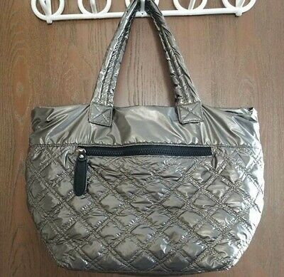 Sondra Roberts Squared Quilted Nylon Tote in Pewter Metallic Large Quilted Nylon Fabric