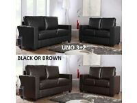 brand new uno 3+2 black or brown leather sofa plus many other sofas to choose from
