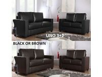 Uno 3+2 black or brown sofa, great sofas, many more on offer, call now delivery Saturday