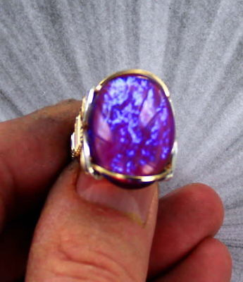 Dragons Breath Mexican Opal Glass  Ring sterling silver and 14kt Rolled Gold