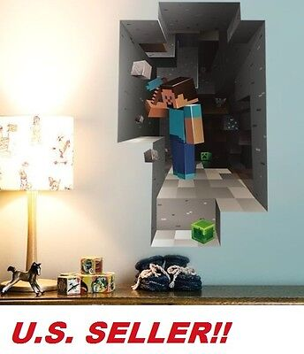 MINECRAFT Wall Decal Kids Large Steve Game Room Removable Sticker US SELLER!! for sale  Shipping to South Africa
