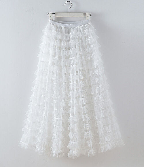 Tiered Ruffle Sheer See-through Mesh Tulle Maxi Long Full Skirt Runway Celebrity