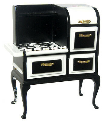 Dollhouse Miniature Vintage Black Roper Cooking Stove Doll House Furniture