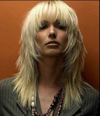 US Women/Men Unisex Medium Long Light Blonde Full Wig Synthetic Hair Cosplay - Mens Short Blonde Wig