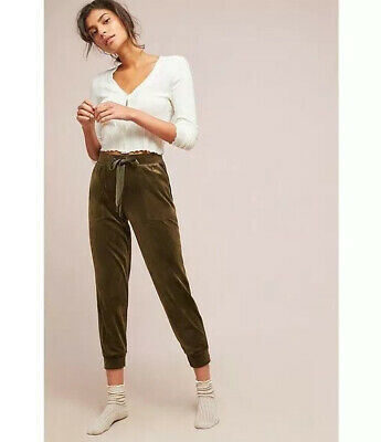 Anthropologie Saturday Sunday Moss Green Velour Joggers Lounge Pants Sz M Xlnt!  Green Velour Pants