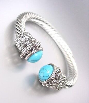 NEW BALINESE Designer Style Chunky Silver Cable Turquoise End Tips Cuff Bracelet (End Cuff Bracelet)