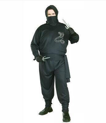 """New NINJA Men's Adult Costume PLUS SIZE (46-52"""") Warrior Assassin Halloween"""