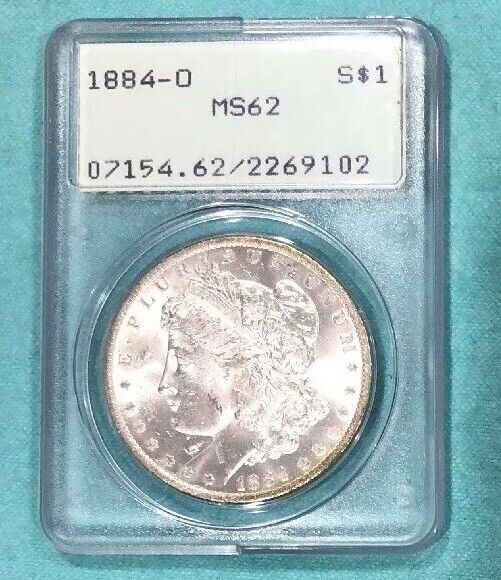 1884 O Morgan Silver Dollar ms62 OGH PCGS Certified Old Green Holder